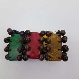 Jewelry - Tribal Stretch bracelet Red Yellow Green Beaded